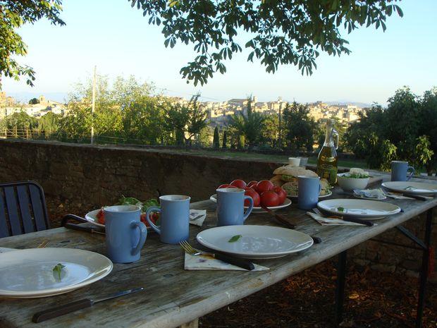 stół w ogrodzie
